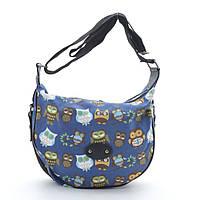 Женская сумка 1603 №3 blue (цветные совы). Женские маленькие сумки через плечо, сумки женские на плечо