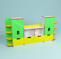 Шкафы и полки для игрушек и пособий 3000*420*1600h
