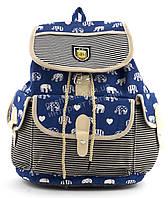 Спортивная женская сумка-рюкзак Б/Н art. 103 синяя слоники