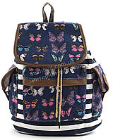 Спортивная женская сумка-рюкзак Б/Н art. 103 синяя бабочки