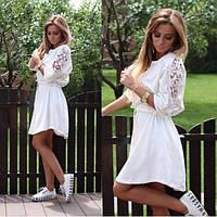 Свободное летнее женское платье с кружевом