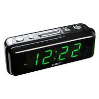 Электронные часы с LED дисплеем 738-4, салатовое свечение, питание от сети 220 В, 145х50х50 мм