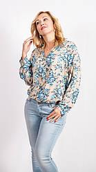 Женская летняя блуза с вырезом и длинными рукавами