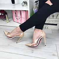 Женские туфли лодочки на каблуке 10,5 см, эко лак + силикон, бежевые / туфли для девочек, стильные