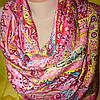 Палантин шёлк розового цвета с растительностью , фото 2