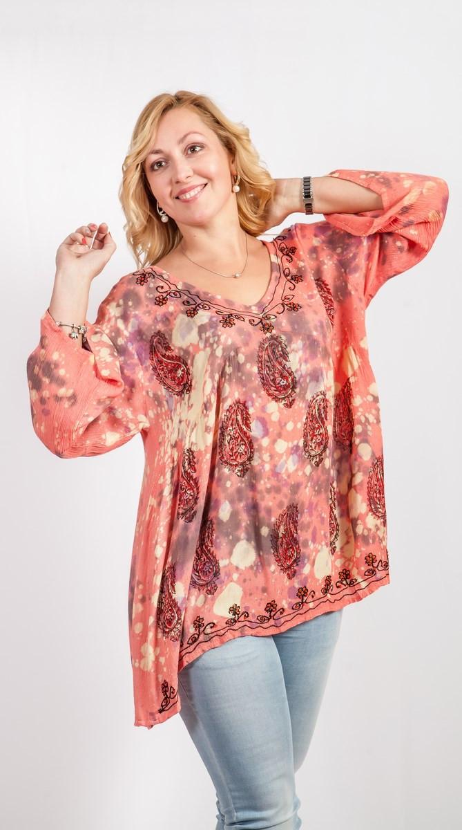 Легкая женская блуза свободный размер