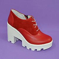 Женские стильные туфли на шнуровке, высокий каблук. Натуральная красная кожа и замш