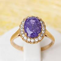 002-2253 - Позолоченное кольцо с фиолетовым с блёстками и прозрачными фианитами, 18, 18.5 р.