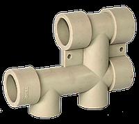 Водораспределительный блок (нижнее подключение радиатора) 25х20 Tebo серый