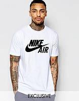 Футболка мужская Nike Air Найк белая (большой черный принт)
