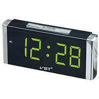 Цифровые светодиодные часы 731-2, LED дисплей, функция памяти, мягкое зеленое свечение, 210х95х53 мм