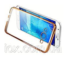 Силиконовый чехол с золотистыми ободками для Samsung Galaxy J1/J120 2016
