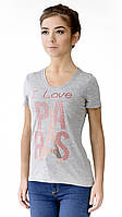 """Футболка женская с аппликцией """"Paris"""" из блесток.Модный глубокий вырез,усиленный плечевой шов"""