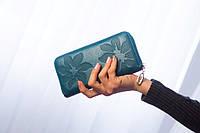 "Женский кожаный кошелек ""Лилия"" голубой"