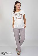 Свободные брюки для беременных Sydney, из легкого штапеля, галстучный принт на розовом фоне