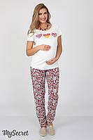 Свободные брюки для беременных Sydney, из легкого штапеля, молочные цветы на красном*