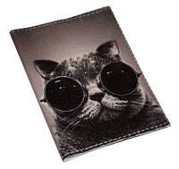 """Кожаная обложка на паспорт """"Крутой кот"""""""