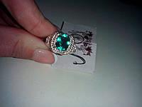 Кольцо с камнем зеленый кварц топаз в серебре.
