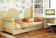Кровать Нота тм Эстелла 80х190/200, цвет №102 Бук натуральный, Фасад+ящики деревянные (Массив)