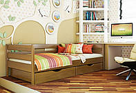 Кровать Нота тм Эстелла 80х190/200, цвет №105 Ольха, Фасад+ящики деревянные (Массив)