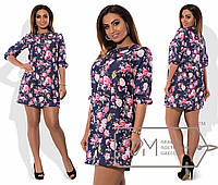 Женское батальное платье из облегченного джинса с цветочным принтом