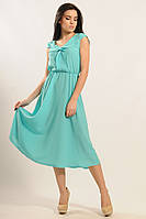 Летнее женское платье шифоновое средней длинны в расцветках