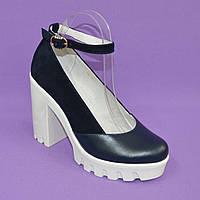 Женские туфли на тракторной подошве, натуральная кожа и замша. Синий цвет