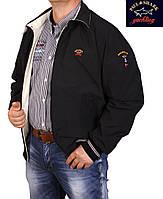 Куртка-ветровка мужская двухсторонняя (большие размеры)Paul & Shark-046 черно-бежевая.62-68 размера