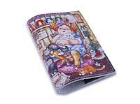 "Кожаная обложка на паспорт ""Дама с котами"""