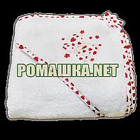Детское махровое (петля нормальная) уголок-полотенце после купания 95х95 см ТМ Ярослав 1568 Алый