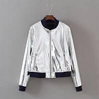 Серебряная куртка бомбер, фото 1