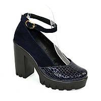 Женские туфли на тракторной подошве, натуральная кожа питон и замша. Синий цвет.