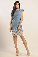 Женское летнее платье из джинса с кружевом по низу