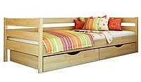 Кровать Нота тм Эстелла 90х190/200, цвет №102 Бук натуральный, Фасад+ящики ДСП (Щит)