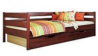 Кровать Нота тм Эстелла 90х190/200, цвет №104 Красное дерево, Фасад+ящики ДСП (Щит)