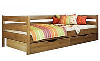 Кровать Нота тм Эстелла 90х190/200, цвет №105 Ольха, Фасад+ящики ДСП (Щит)