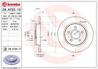 Тормозной диск задний Brembo 08.A725.10 для Ford Focus Iii 07.2010+