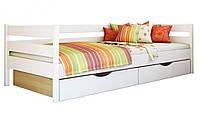 Кровать Нота тм Эстелла 90х190/200, цвет №107 Белый акрил, Фасад+ящики ДСП (Щит)