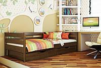 Кровать Нота тм Эстелла 90х190/200, цвет №101 Тёмный орех, Фасад+ящики деревянные (Щит)