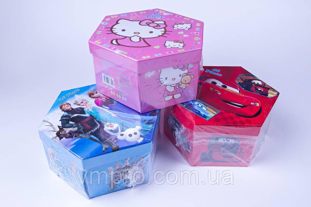 """Набір дитячої творчості в коробці """"Снігова Королева"""" №339-3, 46 предметів, товари для творчості"""