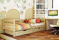 Кровать Нота тм Эстелла 90х190/200, цвет №102 Бук натуральный, Фасад+ящики деревянные (Щит)