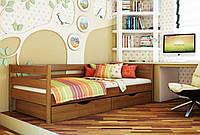 Кровать Нота тм Эстелла 90х190/200, цвет №103 Светлый орех, Фасад+ящики деревянные (Щит)