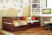 Кровать Нота тм Эстелла 90х190/200, цвет №104 Красное дерево, Фасад+ящики деревянные (Щит)