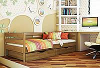 Кровать Нота тм Эстелла 90х190/200, цвет №105 Ольха, Фасад+ящики деревянные (Щит)