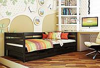 Кровать Нота тм Эстелла 90х190/200, цвет №106 Венге, Фасад+ящики деревянные (Щит)