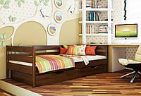 Кровать Нота тм Эстелла 90х190/200, цвет №108 Каштан, Фасад+ящики деревянные (Щит)