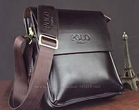 Мужская стильная кожаная сумка POLO (коричневая 27*23). Сумка-планшетка - сумка через плечо.