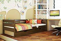 Кровать Нота тм Эстелла 90х190/200, цвет №101 Тёмный орех, Фасад+ящики ДСП (Массив)