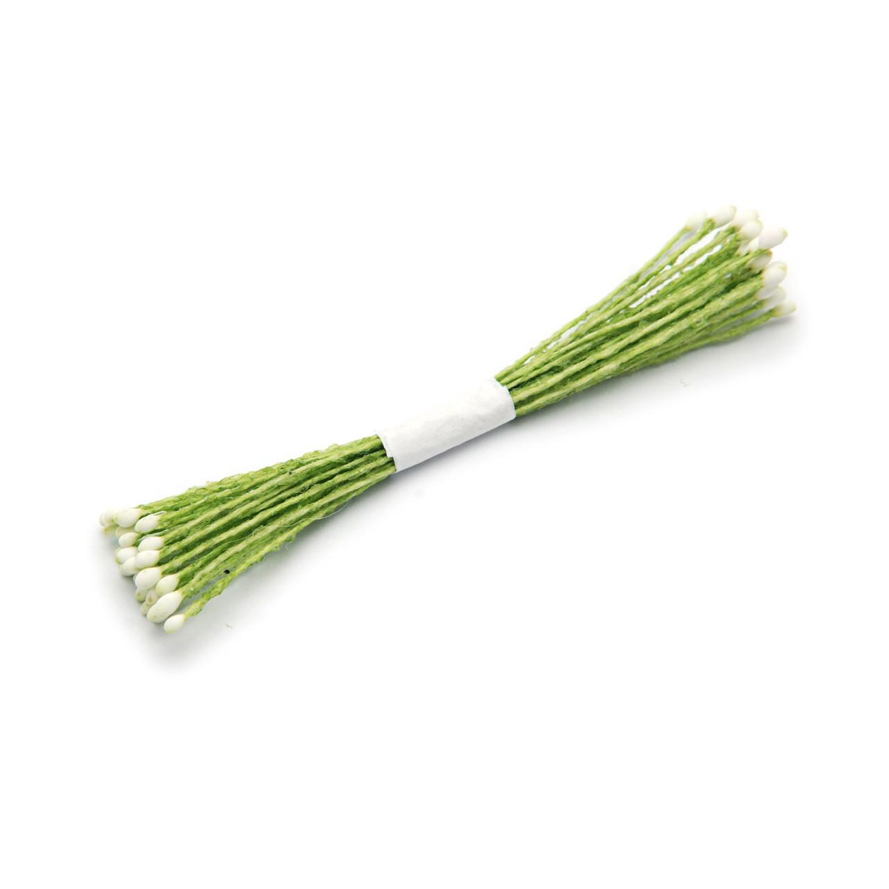 Тайские тычинки мини, 23-25 нитей, 1 мм, БЕЛЫЕ на зеленой нити