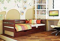 Кровать Нота тм Эстелла 90х190/200, цвет №104 Красное дерево, Фасад+ящики ДСП (Массив)